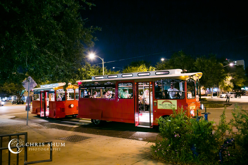 Destination-wedding-St-Pete-Florida-trolley-taking-bridal-party-to-reception