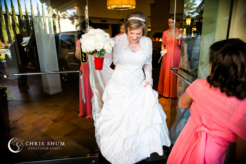 """San-Jose-Campbell-wedding-bride-walking-out-to-limo"""