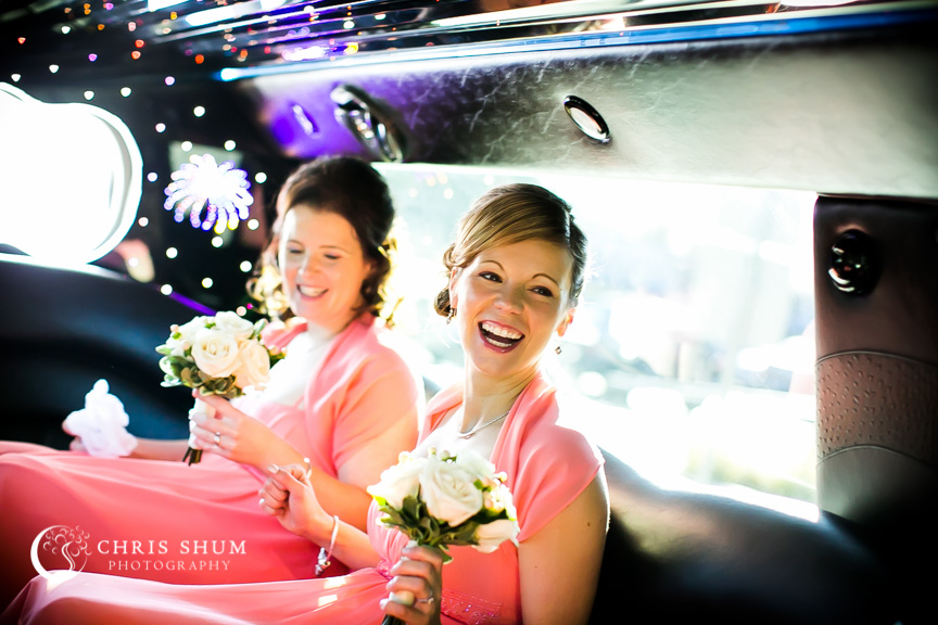 """San-Jose-Campbell-wedding-happy-bridesmaid-on-limo"""