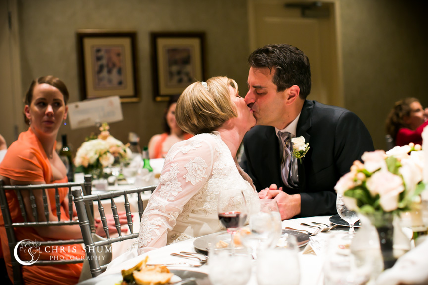 """San-Jose-Campbell-wedding-bride-groom-kiss-after-toast"""